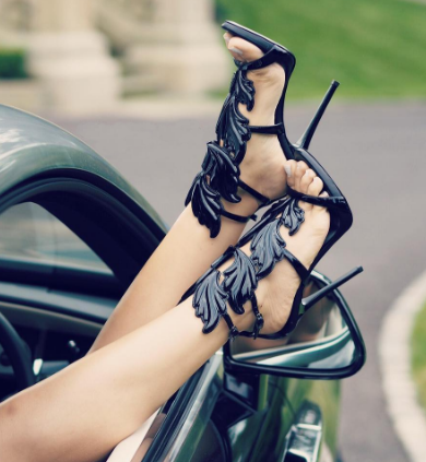 Zylia Black Leather Sandals