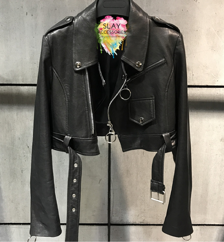 Slay Accessories. Black leather crop motorcycle jacket.