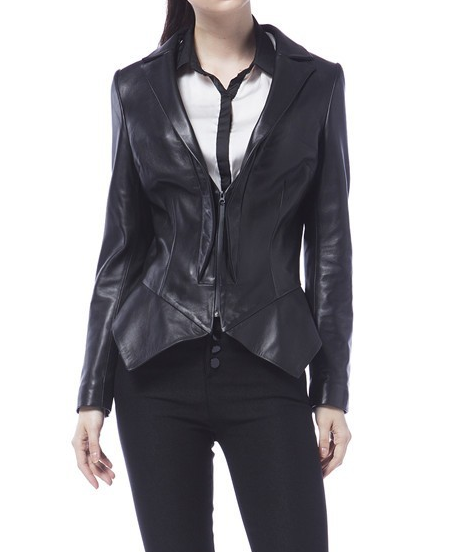 Peppi Leather Peplum Jacket