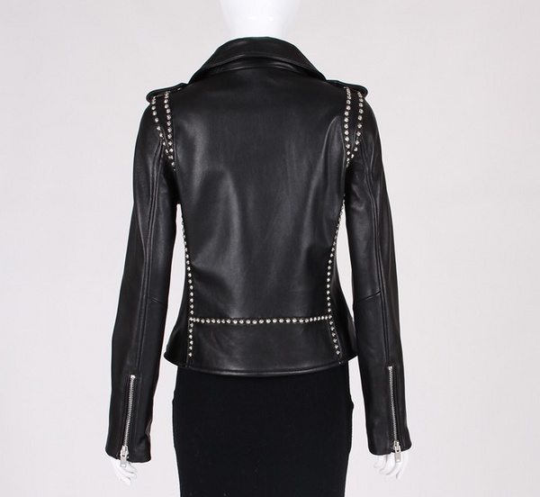 Slay Accessories. Black leather studded biker jacket. Leather motorcycle jacket with silver studs. Modern and stylish leather motorcycle jacket.