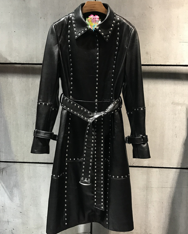 Slay Accessories. Black leather studded trench coat.
