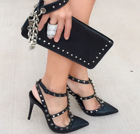 Anastasia Black Leather Sandals