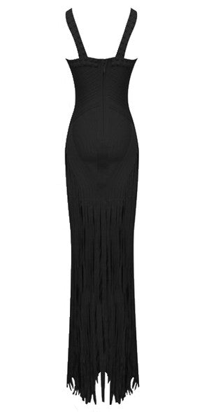 Briella Black Beaded Fringe Bandage Dress
