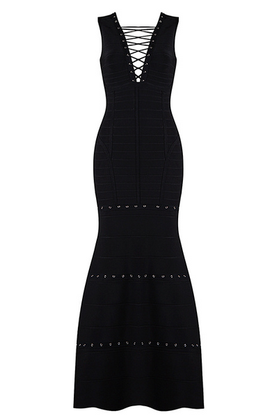 Slay Accessories. Black long eyelet dress. Black dress with silver eyelet details.