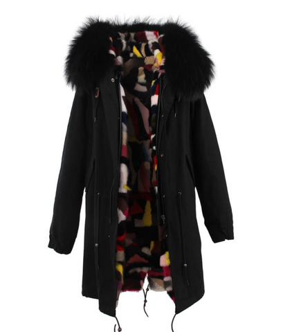 Slay Accessories. Long black fur parka with mink fur lining. Customized fur parka coat.