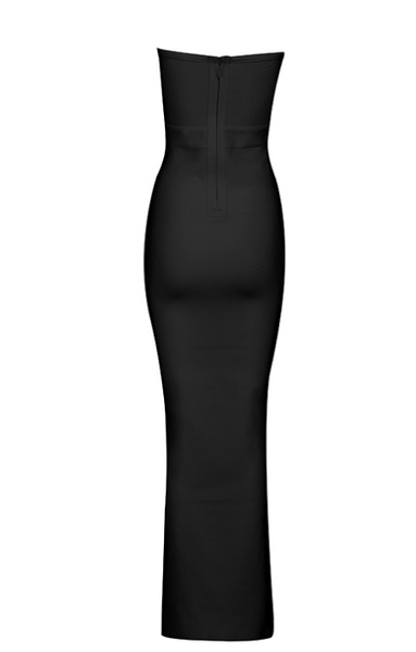 Slay Accessories. Black strapless bodycon maxi dress featuring side tie up details.