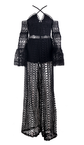 Slay Accessories. Off shoulder lace see through jumpsuit with wide legs.