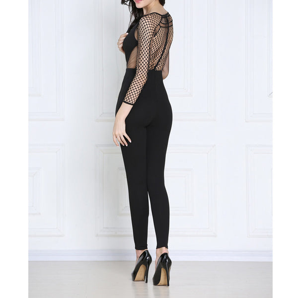 Black Natalie Sheer Top Jumpsuit