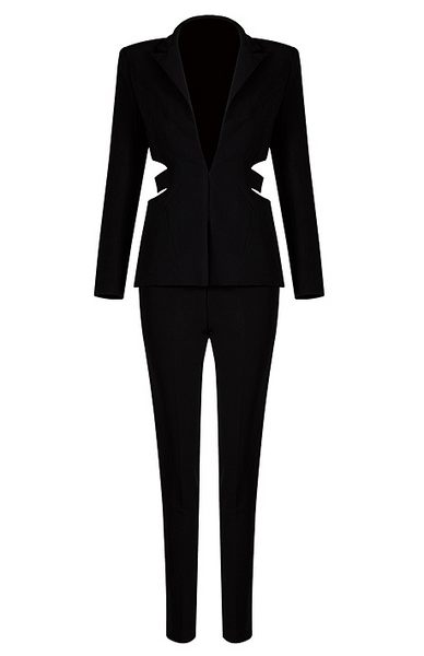 Slay Accessories. Black two piece pants set with cutout blazer design.