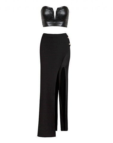 Slay Accessories black pant set. Vegan leather crop top and slit leg pants.