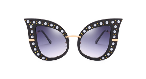 Eartha 2 Pearl Embellished Cat Eye Sunglasses