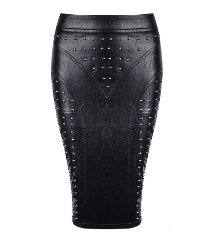 Slay Accessories. Black leather metal studded skirt.