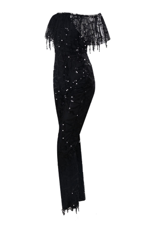 Effie Black Sequin Jumpsuit
