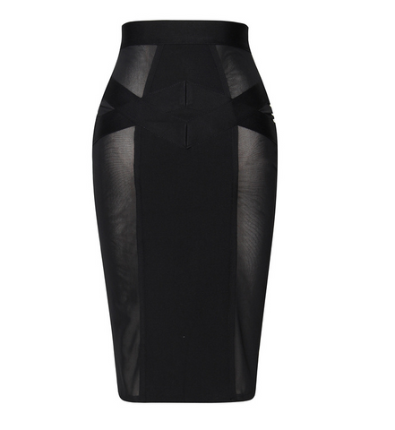 Slay Accessories bandage and sheer panel midi skirt. Bodycon sheer mesh panel midi skirt.