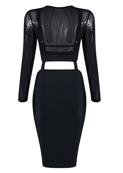 Slay Accessories. Black mesh party dress. Black sheer top cutout bandage dress. Black sheer top cut out bodycon dress.