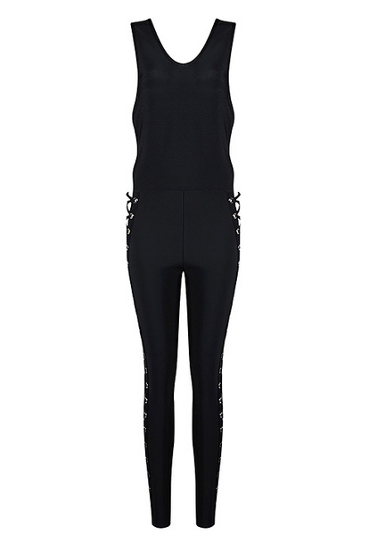 Renee Black Lace Up Jumpsuit
