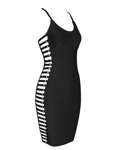 Slay Accessories. Black bandage dress with side cut out paneling.
