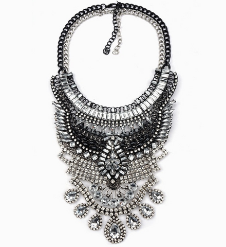 Slay Accessories. Black, silver and crystal chain statement necklace.