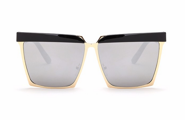 Top Frame Square Fashion San Marino Sunglasses Gold Metal Accent