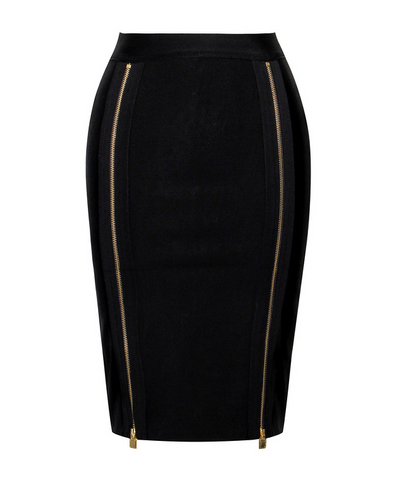 Slay Accessories. Black pencil skirt accented with two long front zippers.