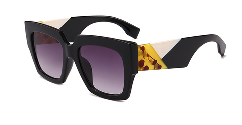 Slay Accessories. Designer style color block oversized square sunglasses.