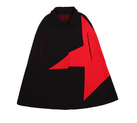 Slay Accessories. Black and red cape coat. Star cape coat.