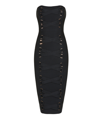 Slay Accessories black strapless bandage dress with front lattice design and gold tone metal hardware.