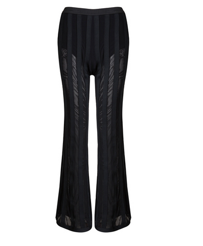 Slay Accessories. Black stripe wide leg bandage trousers.