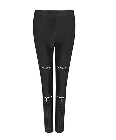 Slay Accessories black bandage tie up leggings. Black skinny trousers with front tie up detailing.