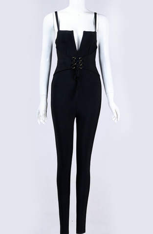 Slay Accessories. Black tie waist bandage jumpsuit.
