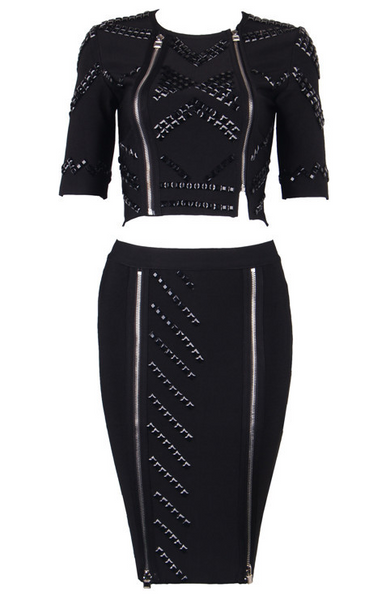 Slay Accessories. Black studded bandage dress set. Embellished bodycon skirt and top set. Black pencil skirt and crop top.
