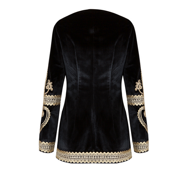 Slay Accessories. Black and gold velvet jacket. Black velvet jacket with gold embroidery.