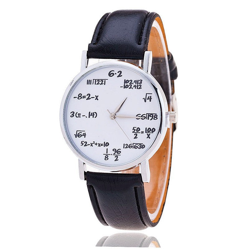 Fashion Equations Face Leather Band Watch