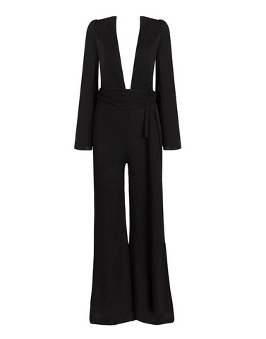 Slay Accessories. Black wide leg jumpsuit with deep V neck.
