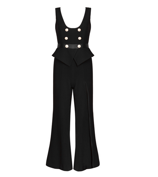 Slay Accessories. Black wide leg pant set accented with gold buttons.