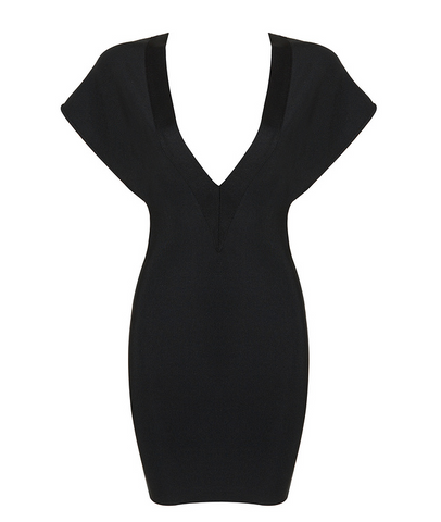Slay Accessories. Black bandage mini dress featuring wide shoulder and deep v neck details.