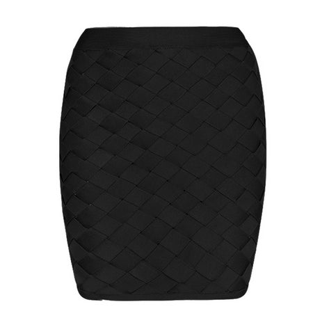 Slay Accessories. Black woven lattice bandage skirt.
