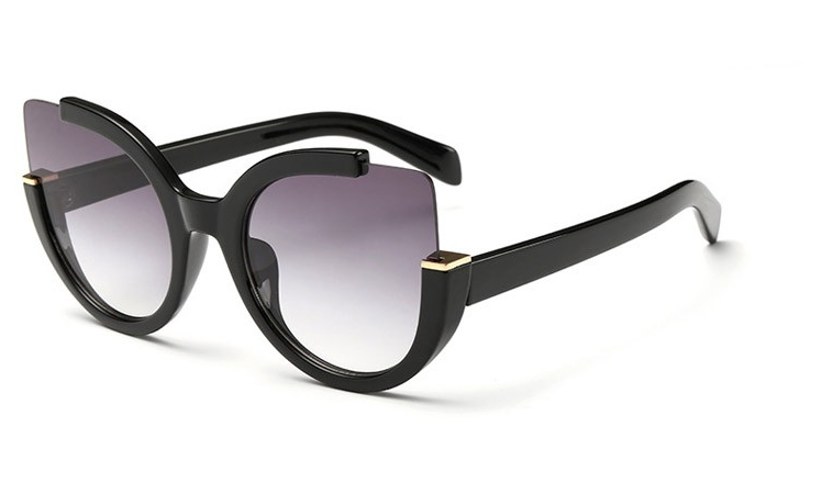 Fashion Cat Eye Gold Accent Sunglasses