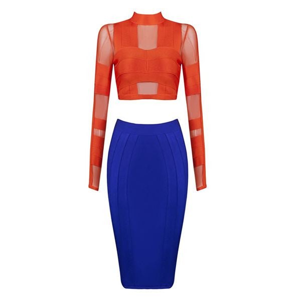 Chrisie Bandage Dress Set Midi Skirt and Crop Top