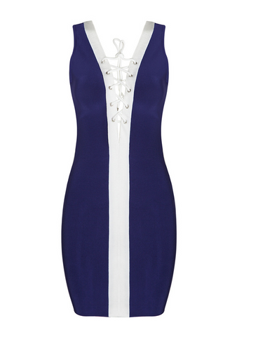 Slay Accessories. Blue tie up bandage dress.