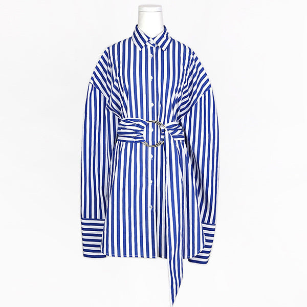 Slay Accessories. Blue and white stripe long shirt with waist sash. Women's modern long stripe shirt.