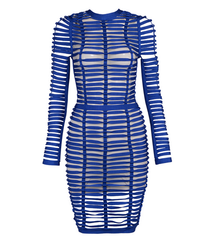 Slay Accessories blue woven bandage dress. Cage woven bodycon dress with sheer mesh lining.