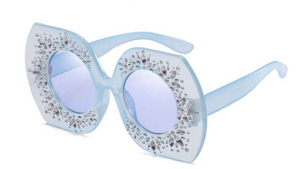 Slay Accessories.  Blue crystal embellished oversized sunglasses.