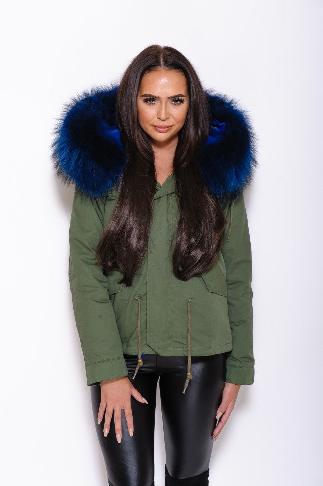 Blue Fur Collar Hood Parka Army Green Jacket