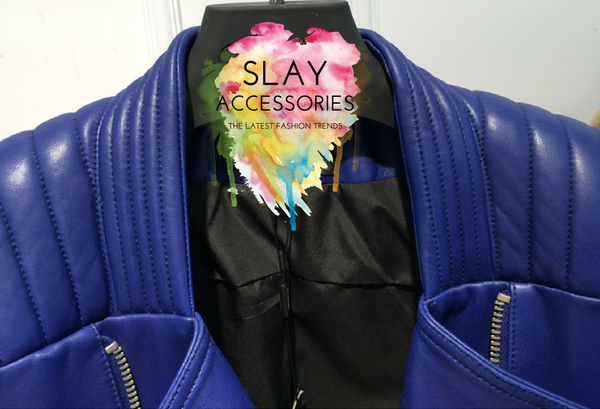 Slay Accessories. Blue leather biker jacket. Blue leather motorcycle jacket. Luxury leather jacket.