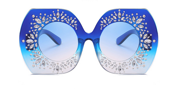 Slay Accessories.  Blue Ombre crystal embellished oversized sunglasses.