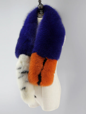 Slay Accessories. Long fur scarf with fox tail. Modern colorful fur fox tail scarf.