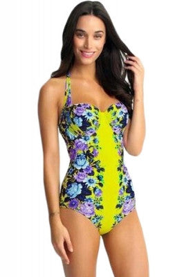 Blooms Blue and Yellow Flower Swimsuit