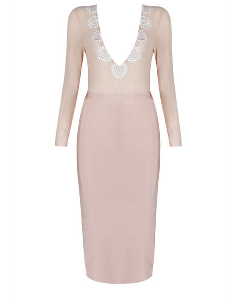 Slay Accessories. Blush colored sheer and lace bandage midi dress.