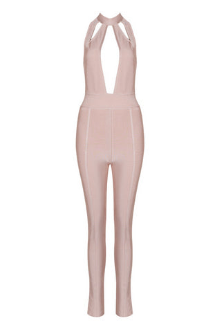 Slay Accessories. Blush bandage jumpsuit. Body hugging jumpsuit with cutout details.